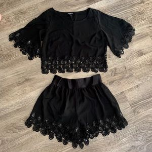BEBE Matching 2 PC Outfit Set Black Chiffon Sequin